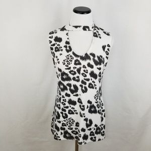 Red Haute Tops - NEW Red Haute Choker Tank Animal Print Cut Out